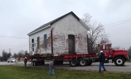 The Messinger Schoolhouse made its way slowly but surely down Old Collinsville Road over the course of several hours.